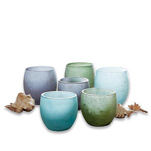 Loberon Windlicht 6er Set Idony, Glas, H/Ø ca. 11,5/11 cm, türkis/grün/grau