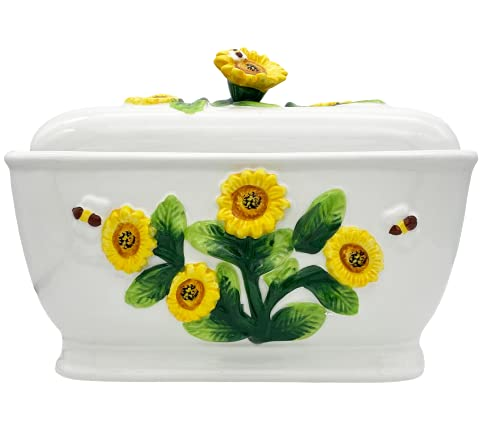 3-D Sunflower Ceramc Bread Box 13-3/4'L, 83075