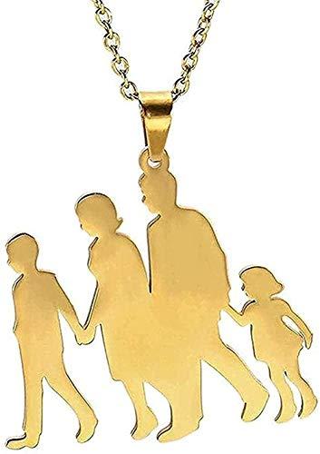 Collar de moda para hombres, mujeres, collar de color dorado, familia, bebé, madre, amor, acero inoxidable, mujeres, niñas, colgante, collar, joyería, regalo, moda, colgante, collar, niñas, niños, reg
