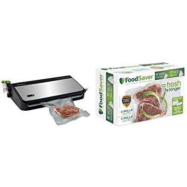 FoodSaver FM2435-ECR Vacuum Sealing System with Bonus Handheld Sealer and Starter Kit, Silver & FoodSaver 8  & 11  Rolls with unique multi layer construction, BPA free, Multi-Pack