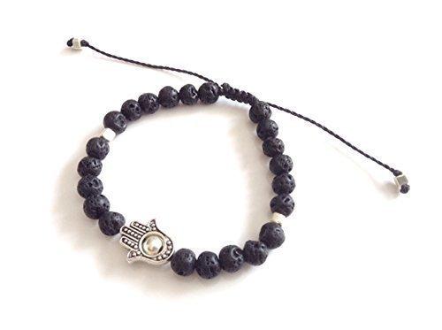 Hamsa Hand Men Black Natural Lava Adjustable Protection Bracelet Pulseras para Hombre de Moda