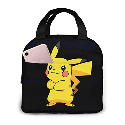KINUNKN Poke-mon Pika-chu Lunch Bag Multifunctional Zipper Package for Work Office
