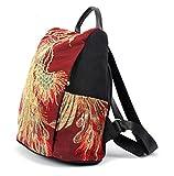 YXLYLL Bolso de la mochila del bordado del brillo de las mujeres, bolso antirrobo del viaje de la lona de la manera (negro) B