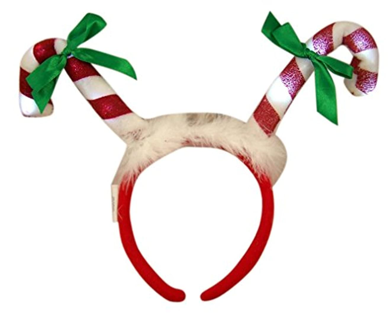 Christmas Candy Cane with Bows LED Light Up Holiday Party Headband