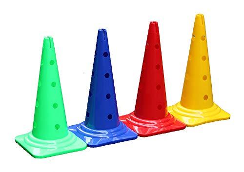 Boje Sport 4er Set Mehrzweckkegel mit Loch - Premium - 50 cm je 1x in der Farbe: rot, gelb, blau, grün - Kombi Kegel Lochkegel Kegelhürde