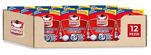 Omino Bianco Additivo Lavatrice Totale 5 Azioni in 1 Idrocaps, Capsule Idrosolubili per Bucato, Smacchiante e Igienizzante, 12 Confezioni x 12 Caps