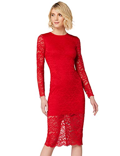 Amazon-Marke: TRUTH & FABLE Damen Midi-Schlauchkleid aus Spitze, Rot (Red), 44, Label:XXL