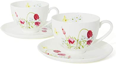 Hankook Chinaware Korean Fine Bone China [Field Flower] Pasque Flower 4-Piece Coffee Set (2 Cups and 2 Saucers), Dinnerwar...