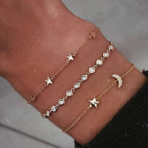 Fairvir - Pulsera Boho con diseño de estrella de oro y luna, cadena de mano brillante con diamantes de imitación para fiesta de playa, accesorios de joyería para mujeres y niñas (3 unidades)