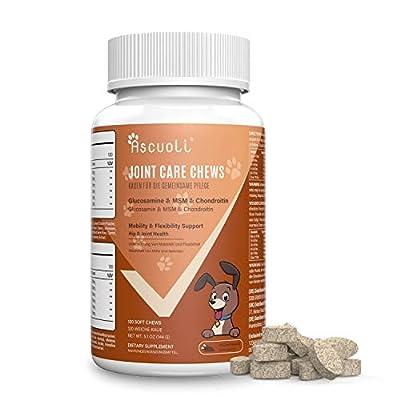 Ascuoli Gelenktabletten für Hunde - Glucosamin & natürliches Chondroitin für Hunde + MSM, Hyaluronsäure und CoQ10, 120 Tabletten