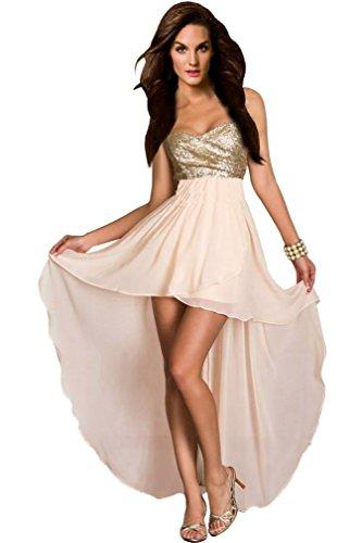 aimerfeel Frauen beige Bustier-Kleid mit Pailletten Top und Größe L 42-44 zurückfließt