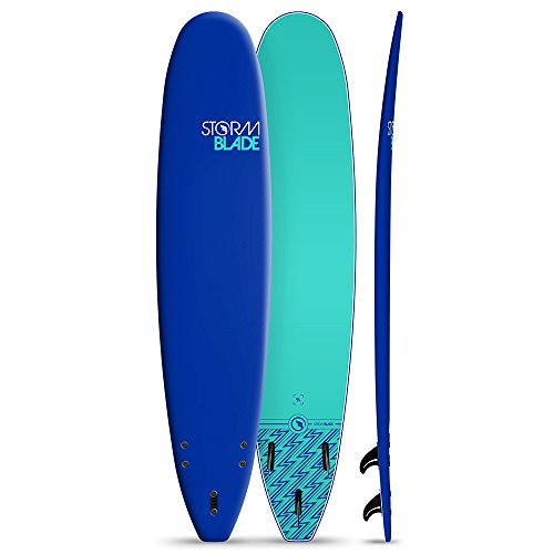 StormBlade 9ft Surfboard // Foam Wax Free Soft Top Longboard for Adults and Kids of All Levels of Surfing