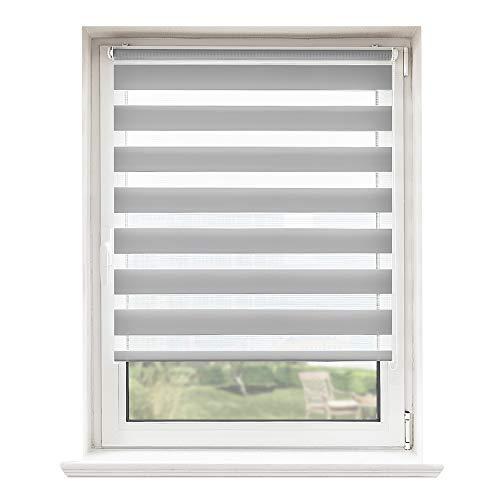 Doppelrollo, Rollos, Seitenzugrollo Easyfix, Klemmfix ohne Bohren, Sonnen- und Sichtschutz für Fenster und Tür Grau, 45 x 100 cm