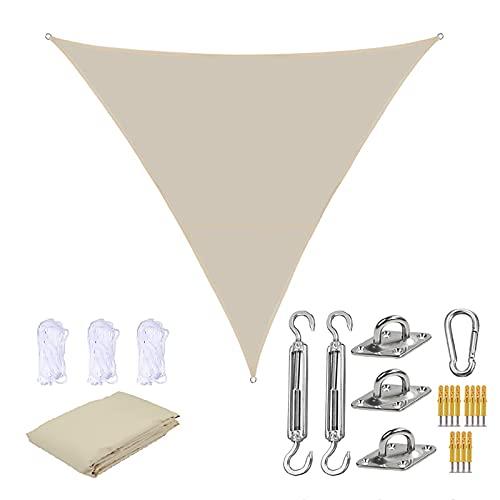 SLDAGe Toldo De Toldo Triangular con Bloque De Rayos UV De 3 × 3 × 3 M, Toldo Triangular De 90% con Kit De Fijación para Patio Terraza Jardín Actividades Al Aire Libre,6