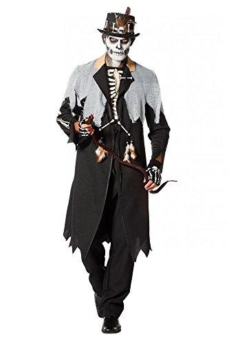 shoperama Voodoo King Herren Kostüm Priester Medizinmann Regenmacher Schamane Witch Doctor, Größe:52