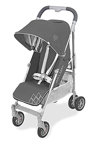 Maclaren Techno Arc silla de paseo tipo paraguas ligero, Para niños de recién nacidos hasta 25 kg, capota extensible con factor UPF 50+ y asiento reclinable, Accesorios incluidos, Gris oscuro/plateado