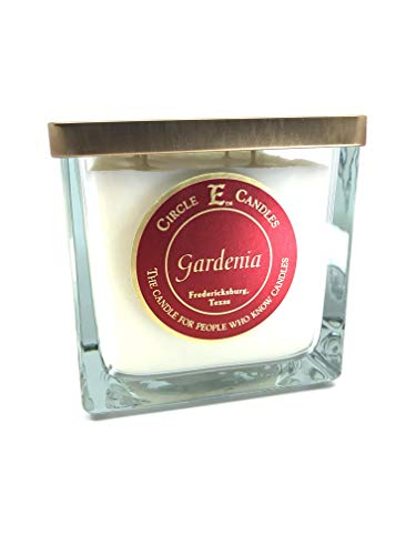 Circle E Gardenia Scented Jar Candle   Size 43oz   215 Hour Burn Time   4 Wicks   Wax Color Pearl White   Glass Jar   Made in USA
