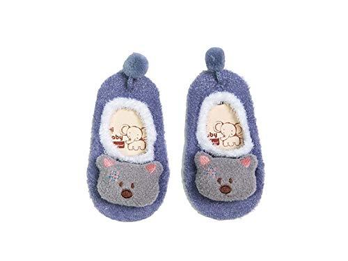 Bébé Cadeau doux enfants Coton Chaussettes enfants Printemps et Automne Coton anti-dérapant Chaussettes de sol (Violet clair)