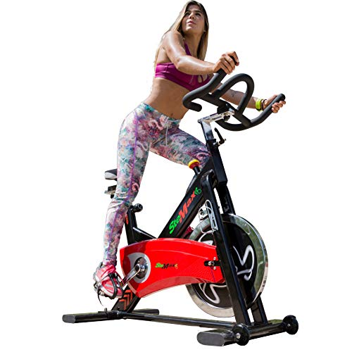 Indoor Exercise Bike Professional Gym grade Stationary cycling 40 lbs flywheel ideal for cardio Workout, Silent Belt Drive Heavy Duty Crank SPD & Caged Pedals 4 way adjustable seat & handlebar Premium quality for Home Office or business ST3500