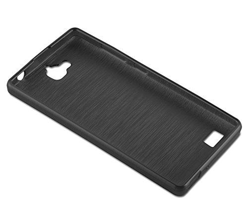 Cadorabo Hülle für Honor 3C - Hülle in SCHWARZ – Handyhülle aus TPU Silikon in gebürsteter Edelstahloptik (Brushed) Silikonhülle Schutzhülle Soft Back Cover Case Bumper - 3