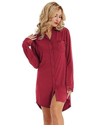 Damen Nachthemd mit Knopfleiste Nachthemd Kleid Negligee Langarm Lange Schlafanzüge Nachtwäsche