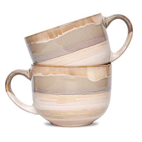 Bosmarlin Large Stoneware Coffee Mug Set of 2, Jumbo Latte Mugs for Office and Home, 16 Oz, Dishwasher and Microwave Safe(Brown Grey, 2)