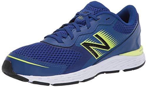 New Balance Kid's 680 V6 Lace Up Sneaker Running Shoe, Marine Blue/Lemon Slush/Black, 1 M US Little Kid