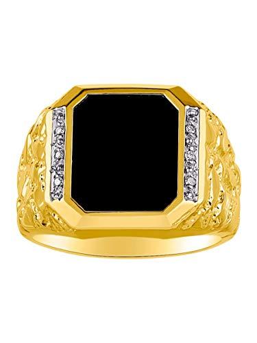 RYLOS Anillos para hombre de oro de 14 quilates con diamantes y ónix negro de diseño Nugget anillos para hombres joyería anillos de oro