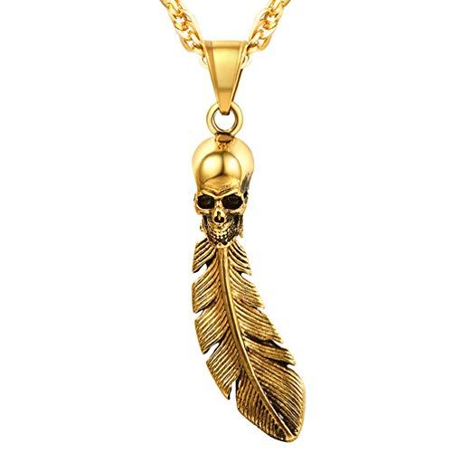 PROSTEEL Herren Punk Stil Halskette 18k vergoldet Feder Totenkopf Schädel Anhänger mit Kette Hip Hop Schmuck für Herren Jungen, Gold