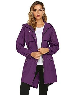 Avoogue Rain Coats for Women Lightweight Hooded Waterproof Active Outdoor Rain Jacket Purple