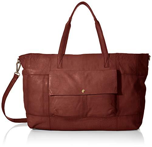 PIECES Damen Pcasta Leather Weekend Bag Schultertasche, Braun (Mocca), 14,5x32x38 cm