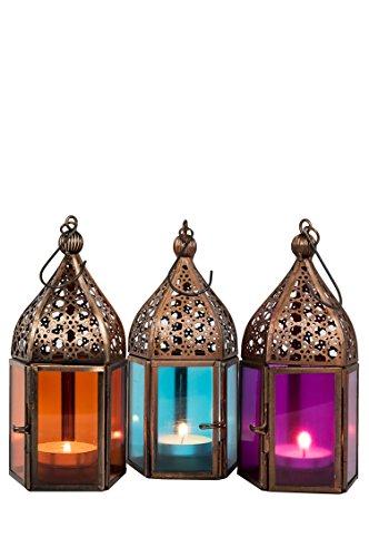 Orientalische Laternen 3 Set Laterne Meena bunt 16cm | 3x Orientalisches Windlicht aus Metall & Glas in 3 Farben | Marokkanische Glaslaterne für draußen als Gartenlaterne in Orange - Blau - Pink