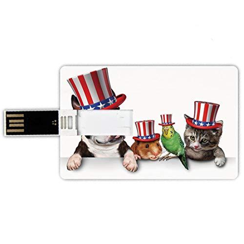 USB-Sticks 16GB Kreditkartenform Vierter Juli Memory Stick-Bankkartenstil Niedlicher Haustier-Tierhundekatzen-Vogel und Hamster mit dem amerikanischen Hut-Feier-Bild dekorativ,Mehrfarben wasserdichte