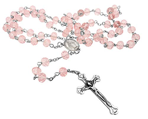Luz crucifijo y granos de cristal de color rosa rosario católico collar Medalla Milagrosa