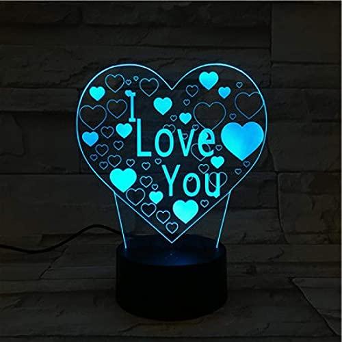 Luz nocturna 3D ilusión lámpara de proyección lámpara Ambiente romántico te amo cariñoso De Habitación De Niños Lámpara De Mesa Los Mejores Regalos De Vacaciones De Cumpleaños Para Niños Cambio d