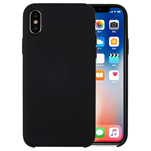ZHANGYOUDE For iPhone X/XS Pure Color Liquid Silicone PC a Prueba de caída Funda Protectora contraportada (Color : Black)