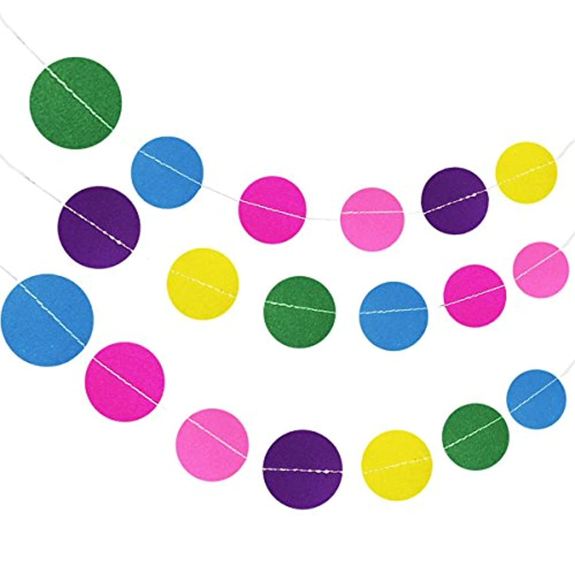 Wrapables 26ft Total Paper Circle Dot Garland Weddings, Birthday Parties, Baby Showers, and Nursery Decor (Set of 2), Rainbow