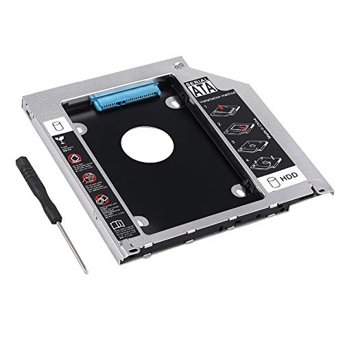 Hard Drive Caddy Tray 2nd HDD SSD Kit Compatible with 2.5' 9.5mm SATA HDD SSD 2nd HDD Adapter for Apple MacBook Pro Unibody 13 15 17 SuperDrive DVD Drive