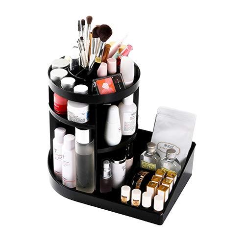 WANGLXCO Beau Organisateur De Maquillage Tournant À 360°, Étagères Réglables, Rangement Maquillage Rotatif, Présentoir Maquillage, Rangement, Stockage, Cosmétiques Hermétique, Black