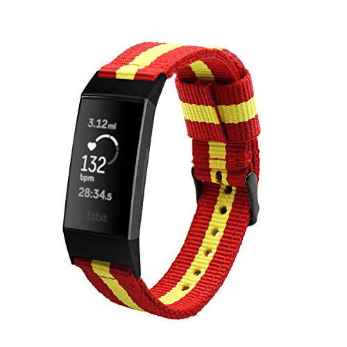 Estuyoya - Nylon armband compatibel met Fitbit Charge 3/ Charge 3 SE Vlag van Spanje kleuren Dubbele band Gespsluiting Verstelbaar Ademend Anti-Lost beveiligingssysteem - Rood-Geel