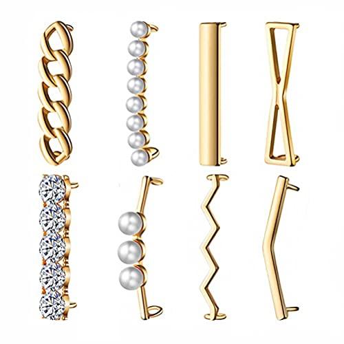 Generic 8 Paar Strass-Perlenverzierungen, Schuh-Clips, Metalllegierung, Schuhschnalle, Schmuckdekoration, mit weißen, runden Perlen für Hochzeitsparty (Gold)