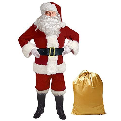 semen Weihnachtsmann Nikolauskostüm Premium Weihnachtsmann Kostüm für Herren Oder Frau Mit - Mütze, Bart, Gürtel und Handschuhe