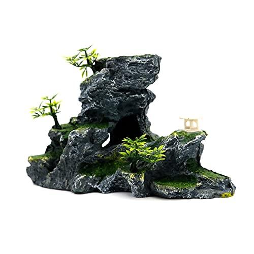 JJY Resina Rockery ACUARIA DE Decoración Accesorios Artificial Mountain Hill View Rock Decorating Ornament para el Tanque de Peces