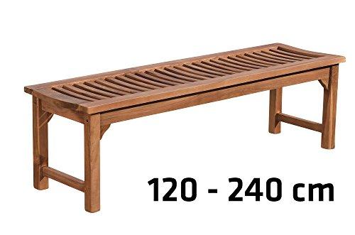 CLP Teakholz Garten-Bank HAVANA V2 ohne Lehne, Teak-Holz massiv (bis zu 8 Größen wählbar) 240 x 45 x 45 cm