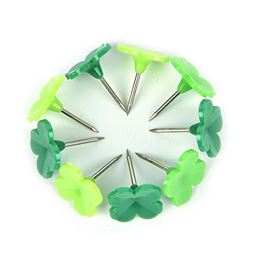LONG7INES Set of 24 Pcs Four-leaf Clover Push Pins Thumb Tacks Drawing Pins for School, Home, Office Use, Green Photo #9