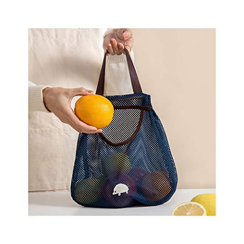 Hunpta - Bolsas de malla reutilizables para la compra de comestibles, portátiles, lavables, orgánicas, con asa corta, para almacenamiento de frutas y verduras (azul)