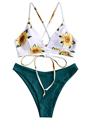 ZAFUL Bikini Set Imbottito con Spalline Incrociate Slip Stampa Floreale per Donna 2019 (Margherita-Verde Scuro, M (EU.38))