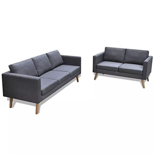 WEILANDEAL 2-zits- en 3-zitsbank, stof donkergrijs, hoekbank, afmetingen van de zitkussen: 50 x 54 x 10 cm (L x B x H)