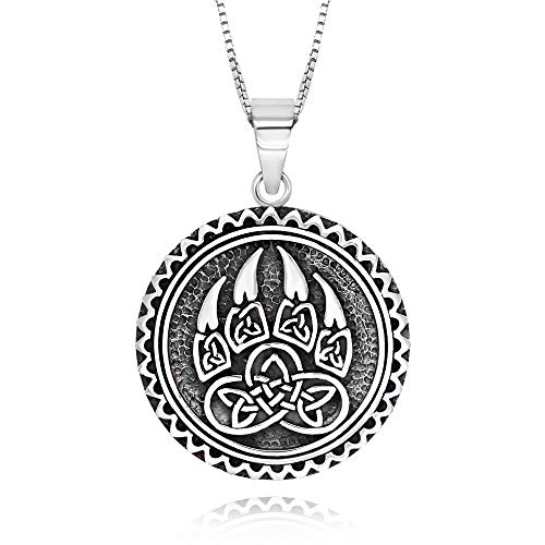925 Sterling Silver Celtic Knot Wolf Paw Round Pendant Necklace 18' for Women
