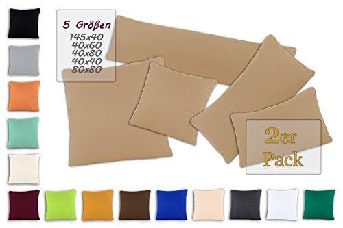 SHC - Kissenbezug 2er-Set für Dekokissen, 100{8e06f8c1414e99caaffab413d961927da4ee9a56d4e0534c963c0d7be2ea7bb7} Baumwolle mit Reißverschluss - 40x40 cm, Sand/Cappuccino